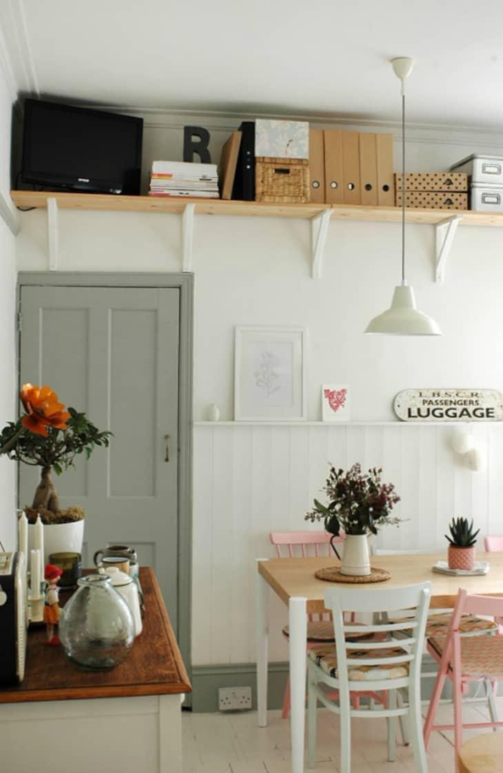Shelf above door back of door storage ideas