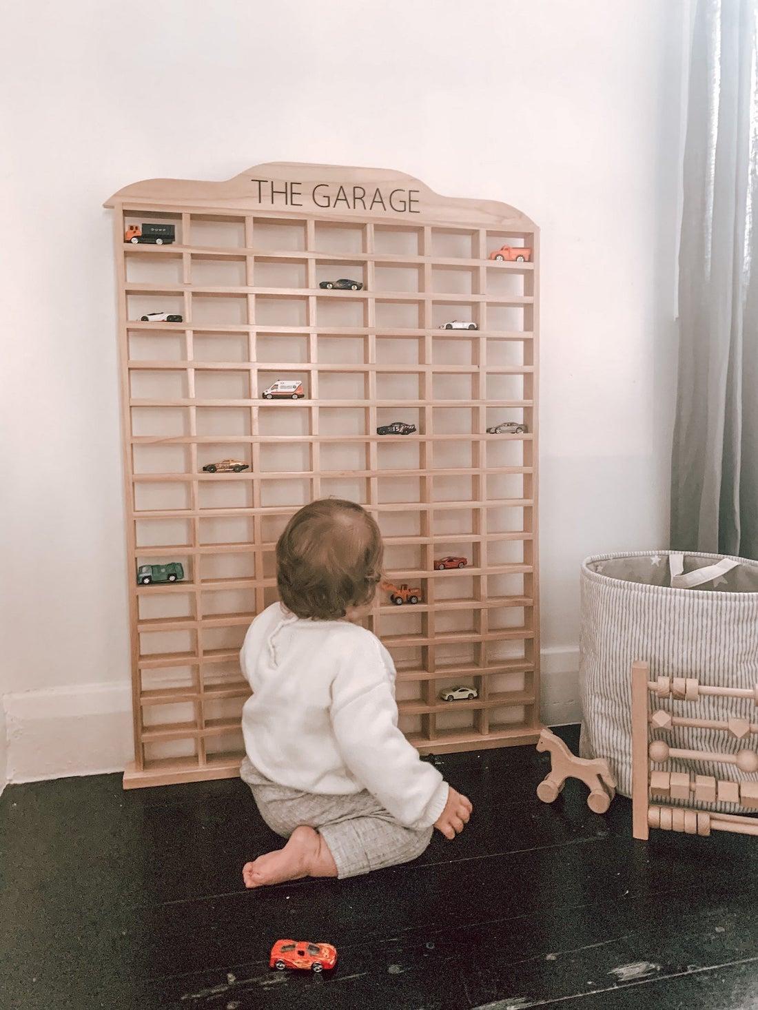 Toy car storage shelf idea