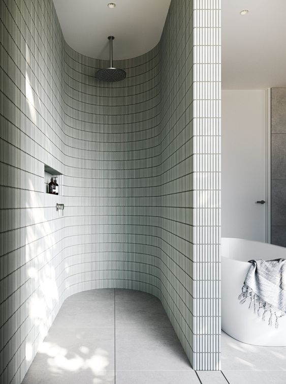 Curved tile shower wall