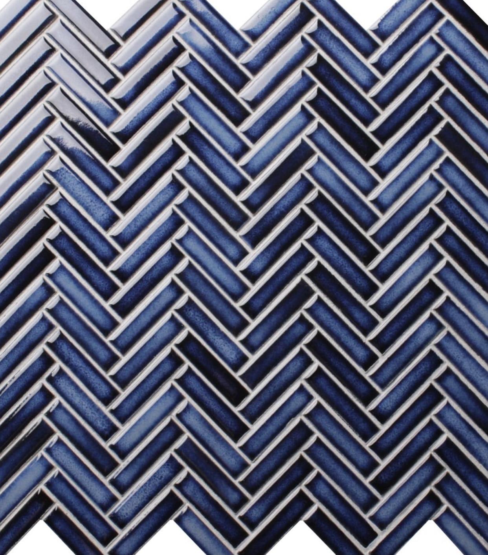 Deep blue herringbone mosaic