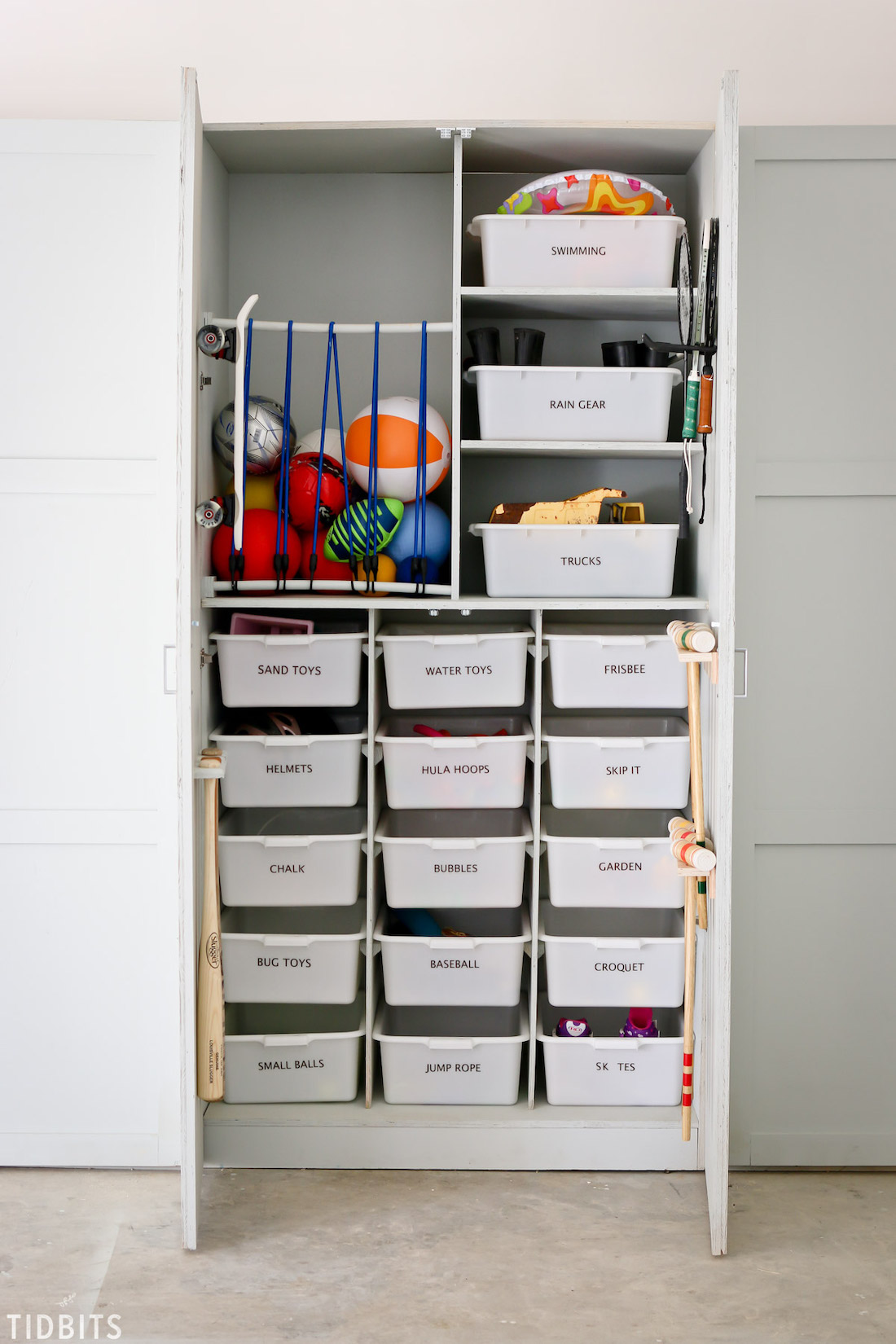 Sports toys and outdoor toy storage idea