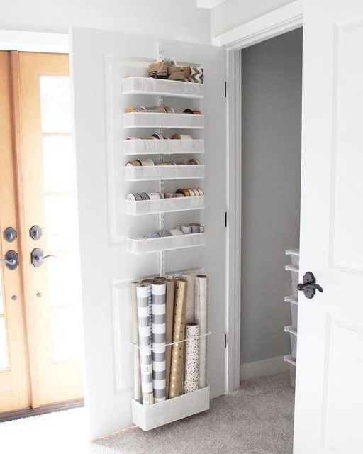 Gift wrapping back of door storage ideas