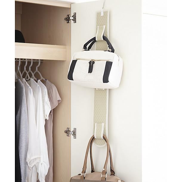 Hanging handbag holder back of door storage ideas