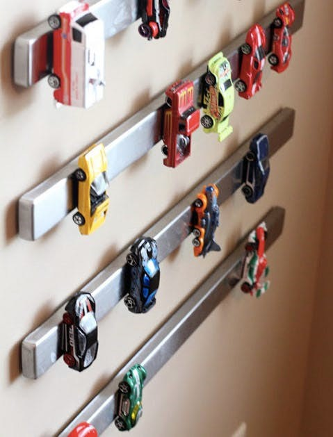 Magnetic strip for storing matchbox and hot wheels cars
