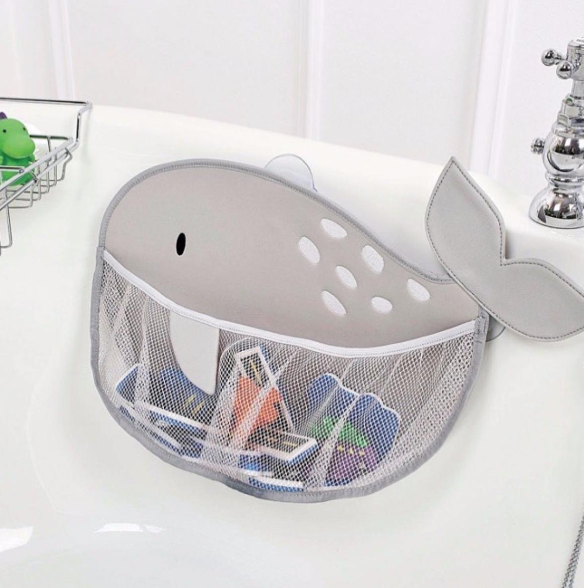 Mesh bath toy bag shaped like a whale