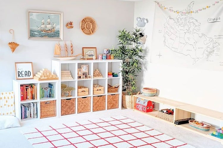 Classic toy storage idea in play room