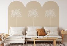 Removable triple arch wall decal in palm print sand