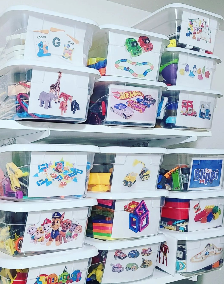 Toy storage ideas with photos of toys as labels