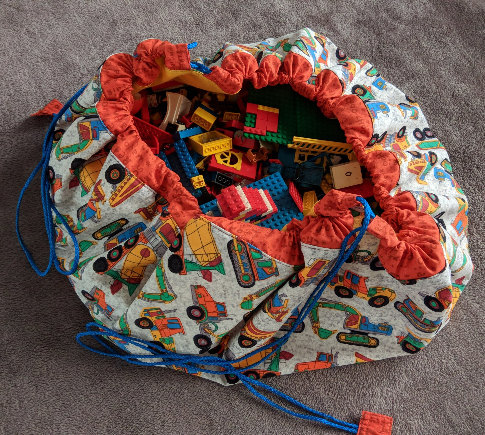 Playmat bag for toy storage