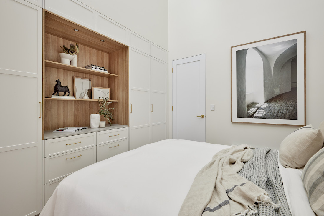Guest bedroom with timber built ins from The Block 2021