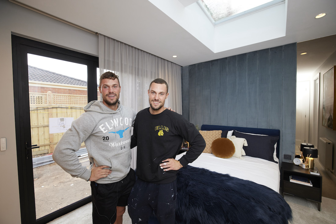 Twin brothers Josh and Luke on The Block in guest bedroom