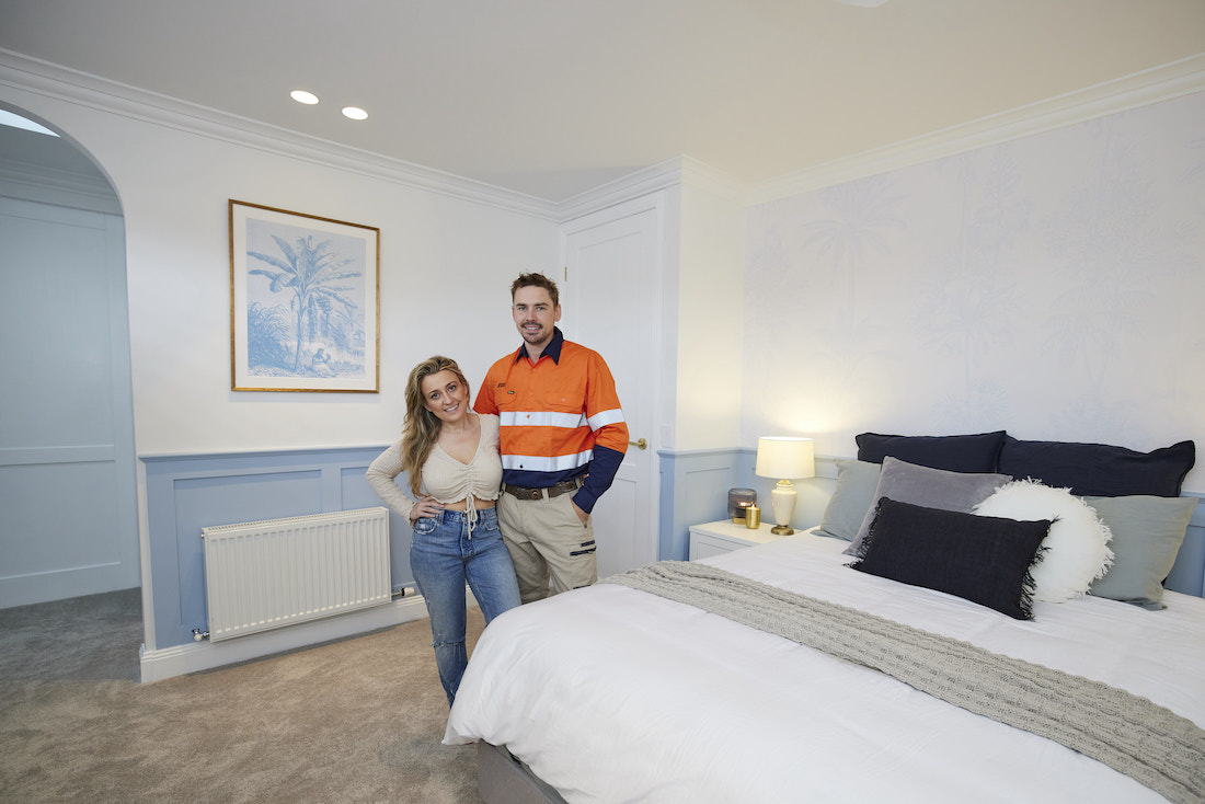 Kirsty and Jesse in Hamptons style guest bedroom