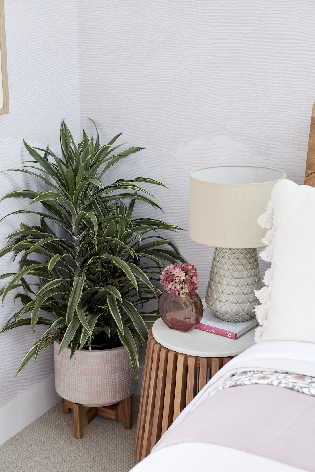 Bedside table and indoor plant
