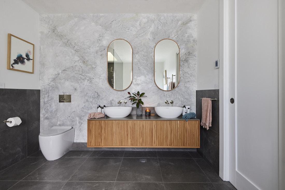 Venetian plaster wall in Jack and Jill bathroom
