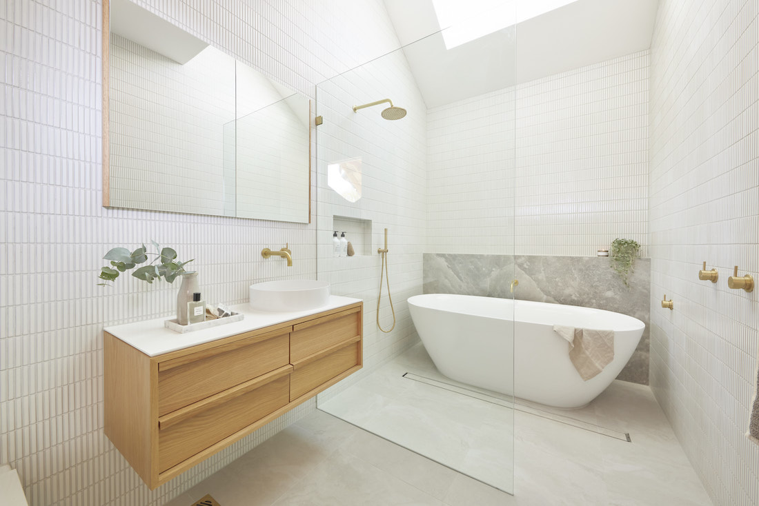 Timber, white and gold bathroom