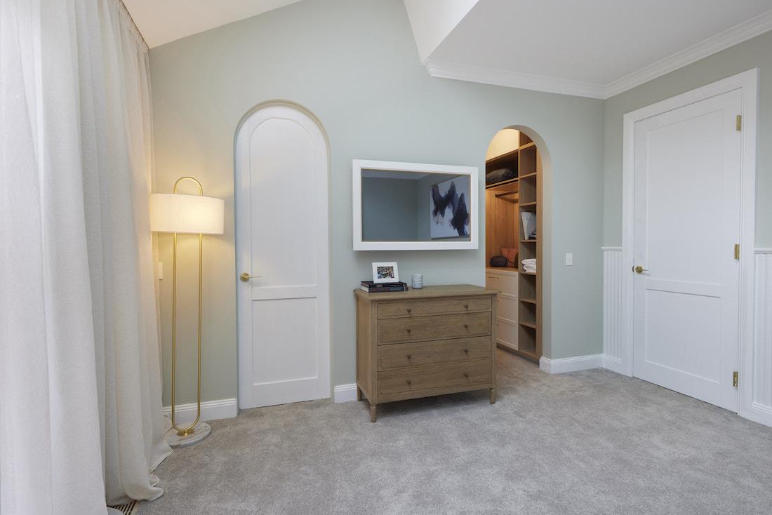 Arched doorways in master bedroom