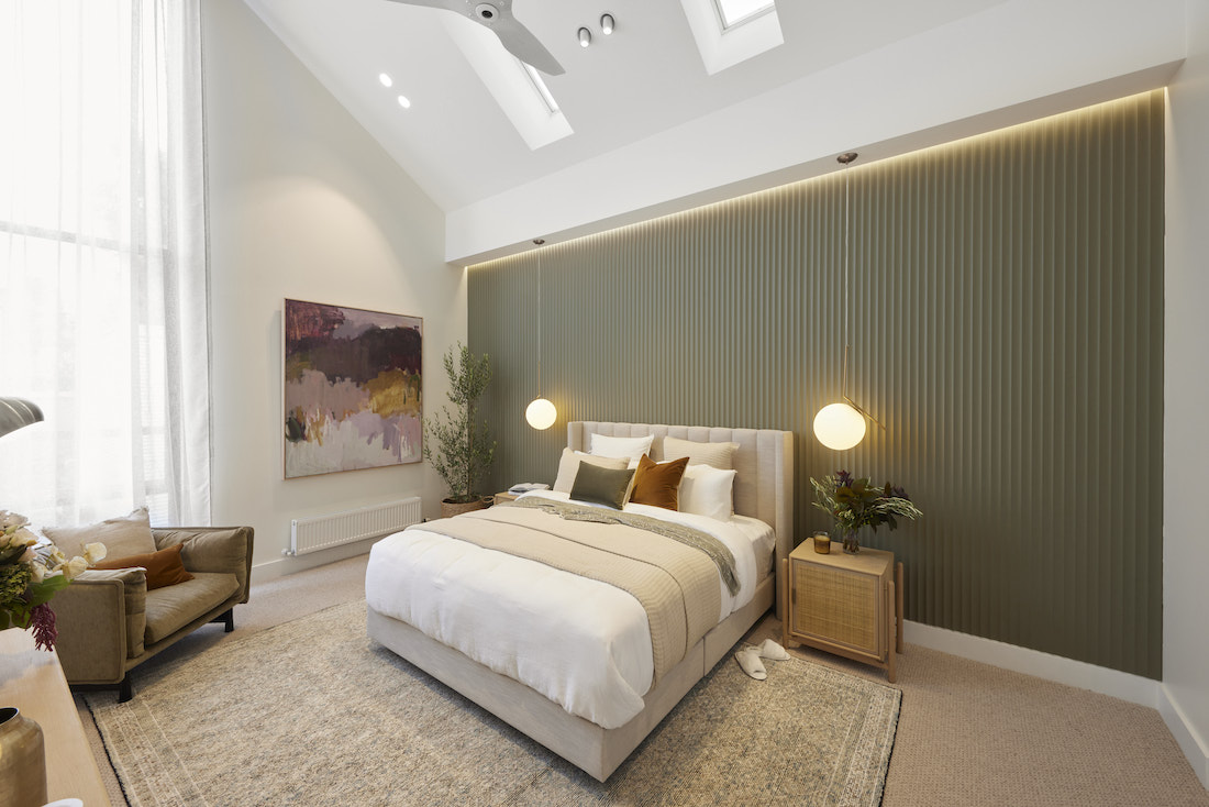 Sage green fluted feature wall