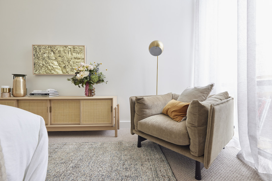 Occasional chair in master bedroom