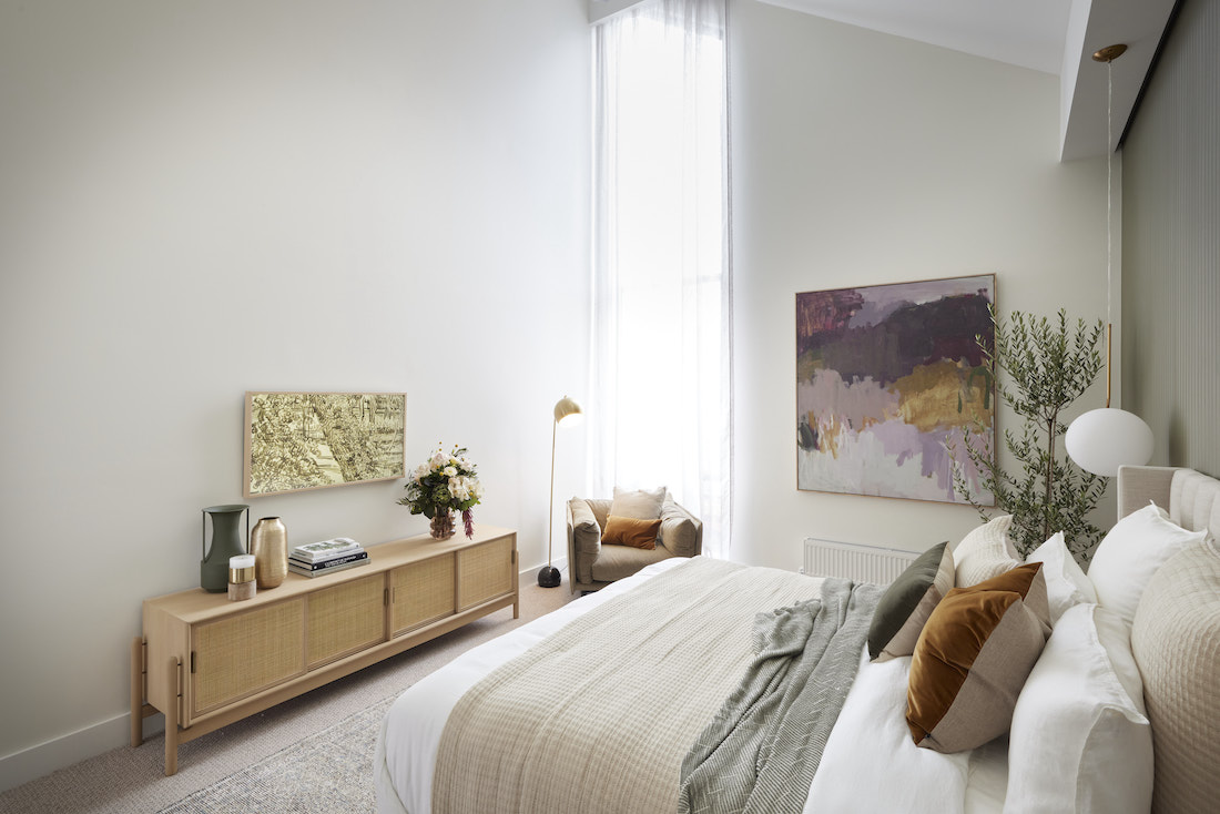 Master bedroom with extra tall window