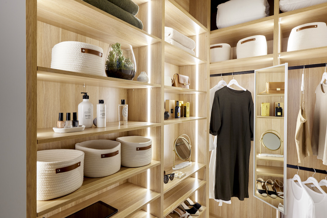 Master bedroom walk in wardrobe with lighting