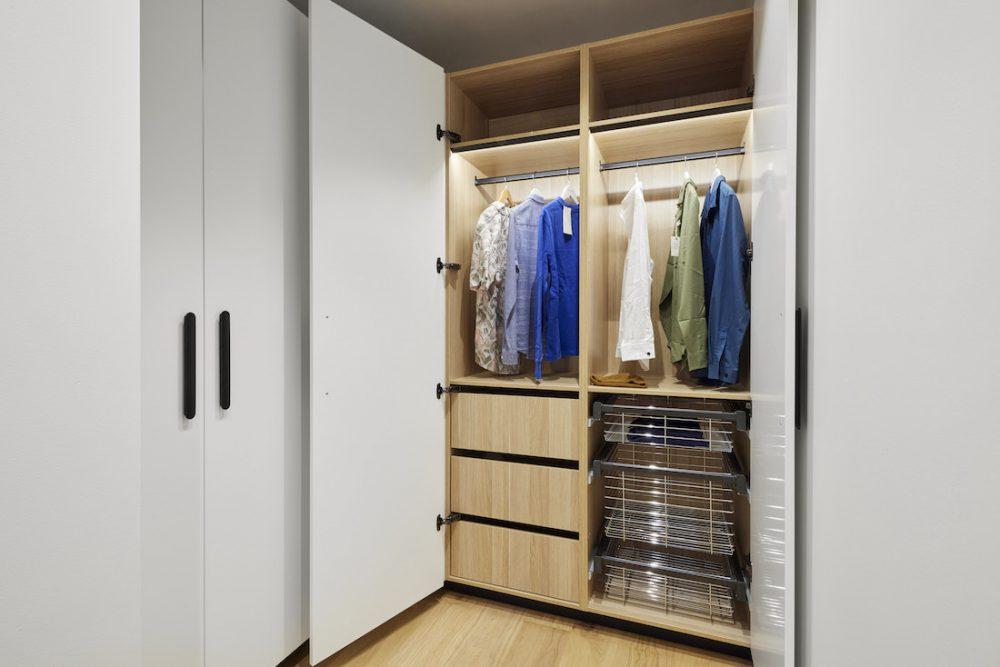Inside walk in wardrobe