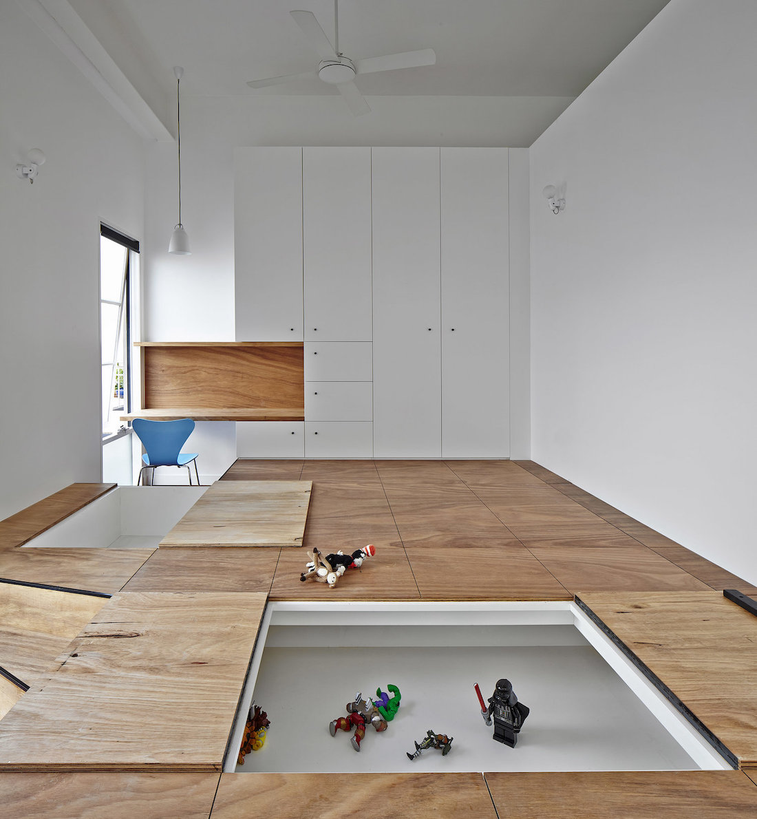 Toy box built into the floor