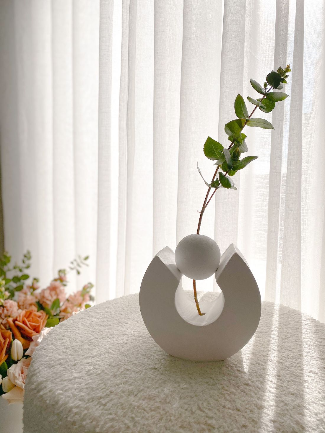 Vase in front of sheer curtain