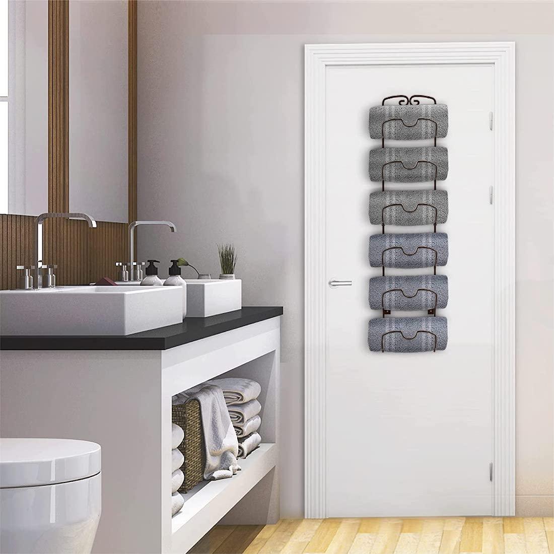 Wine rack towel holder hack back of door storage ideas