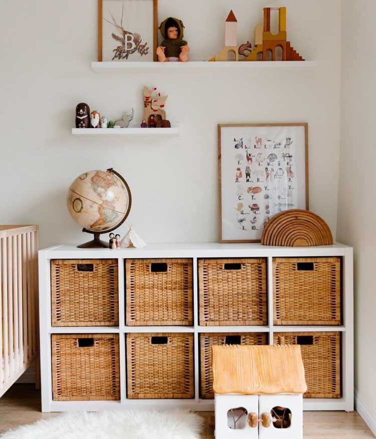 Woven seagrass baskets for toy storage