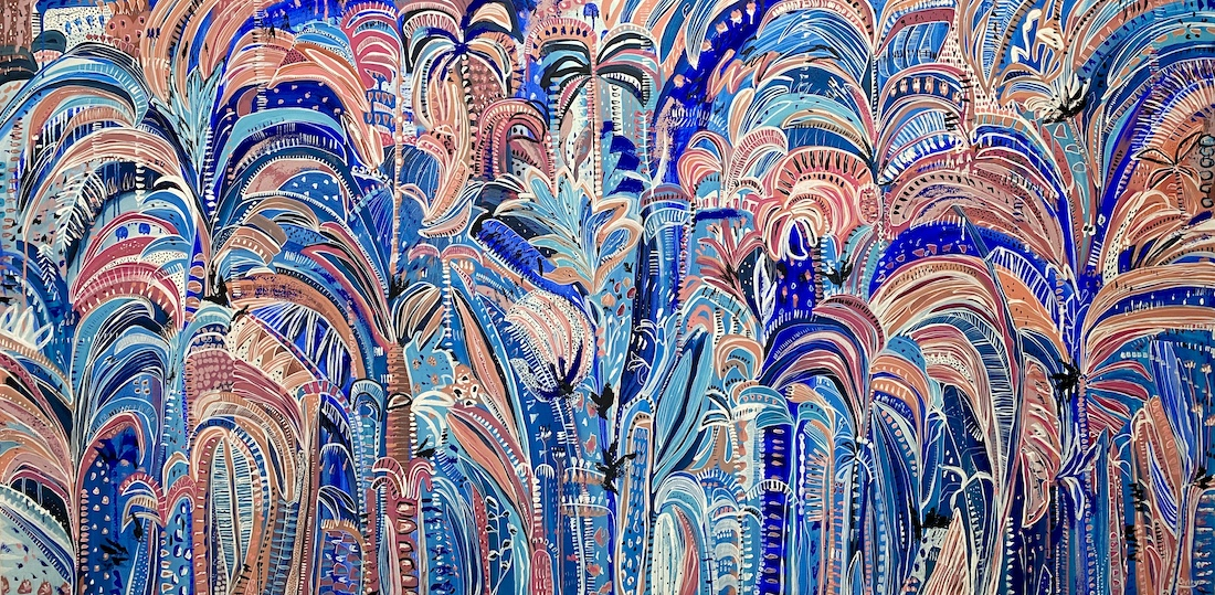 CarleyBourne_painter_blue palm print abstract_Colourful botanical abstracts