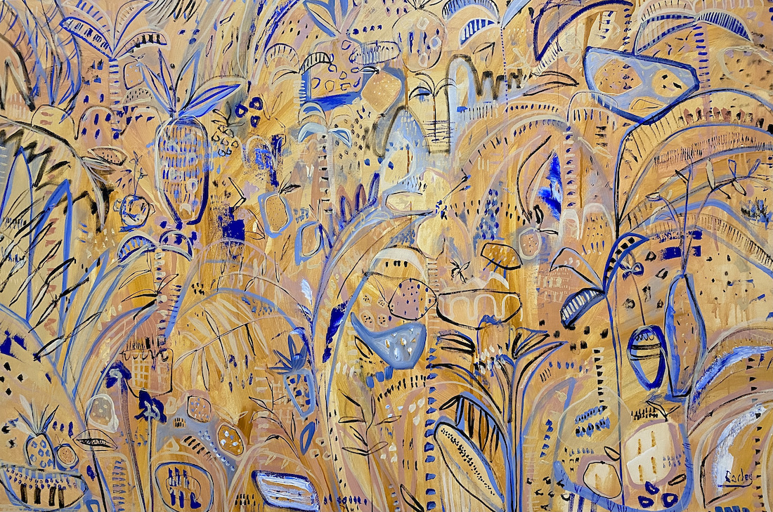Colourful Botanical Abstracts_CarleyBourne_painter_yellow and blue abstract