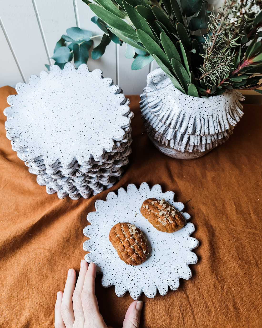 The Seasonal Ceramicist_flower plates_Imperfect textural ceramics