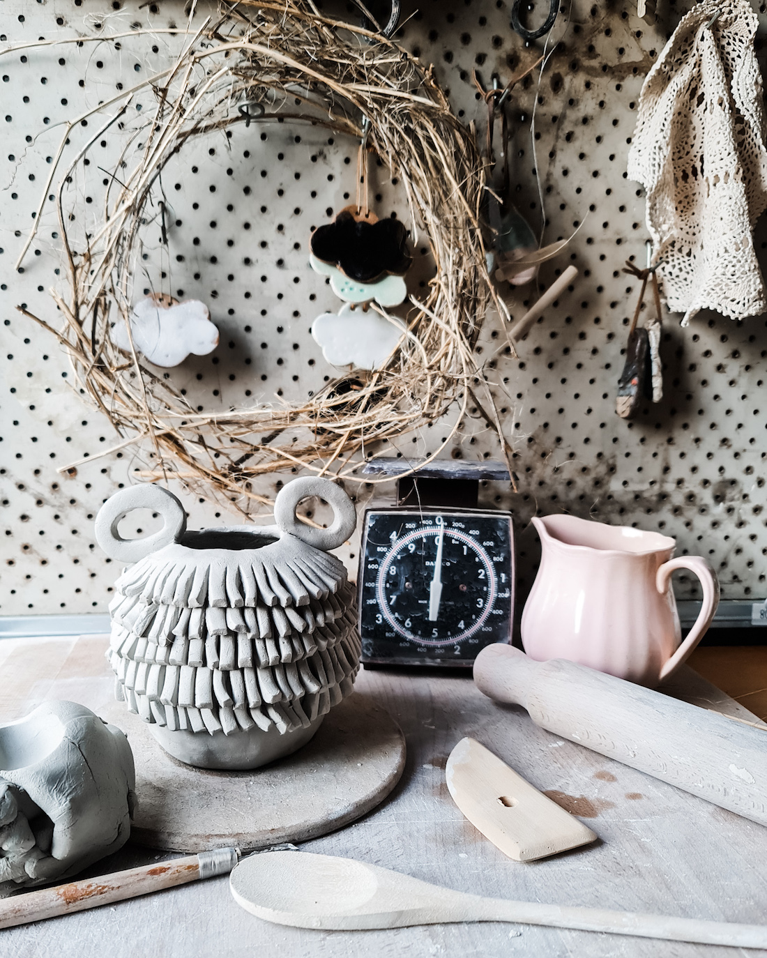 The Seasonal Ceramicist_shaggy vase styled_imperfect textural ceramics