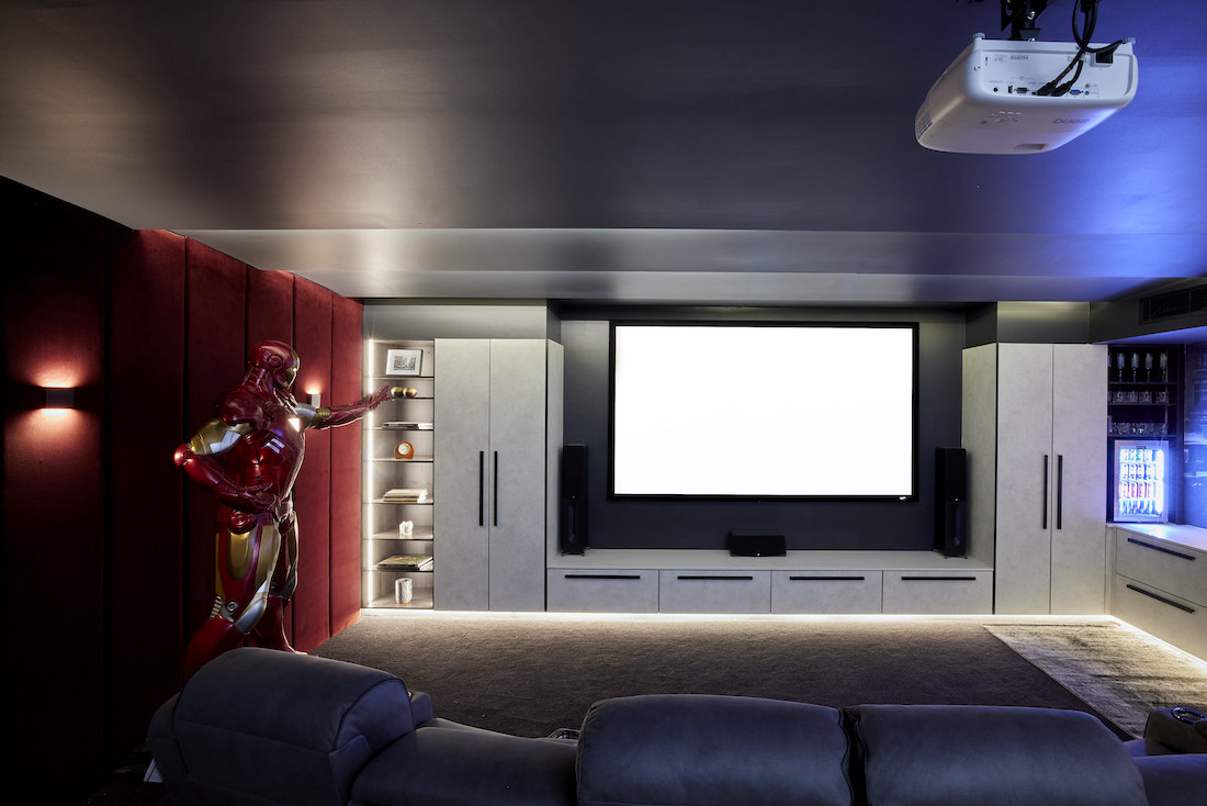 Life-sized Ironman sculpture in home cinema