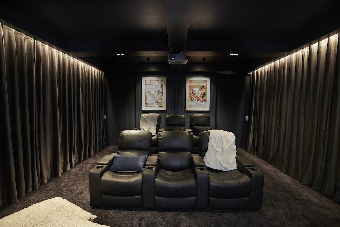 Dark at home cinema set up
