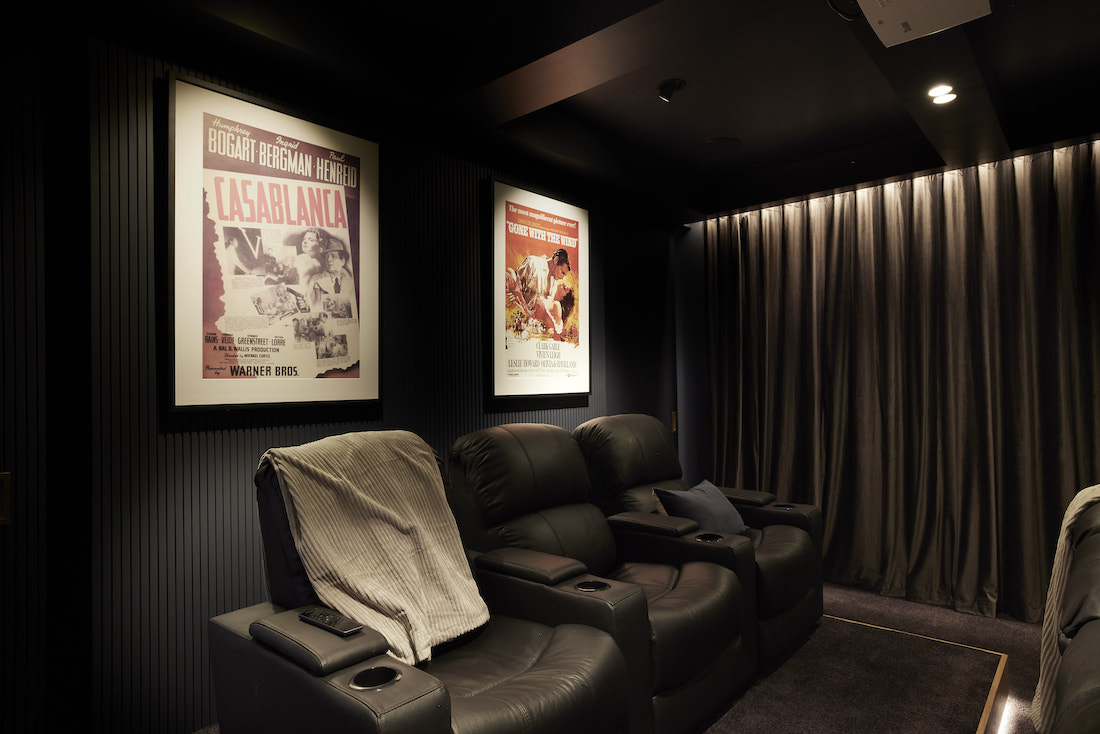 Old movie posters in at home cinema