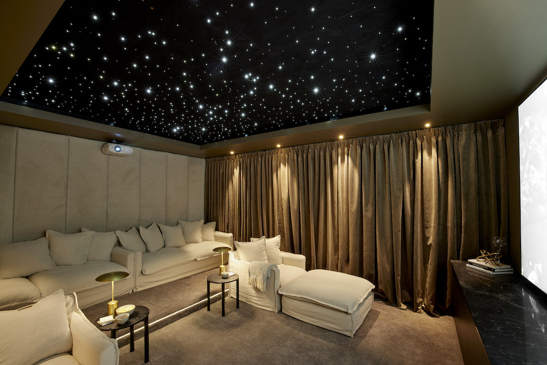 At home cinema set up in basement