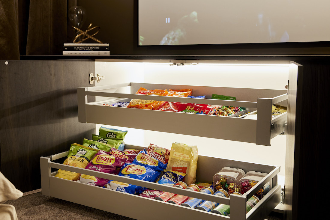 Snack drawer in at home cinema
