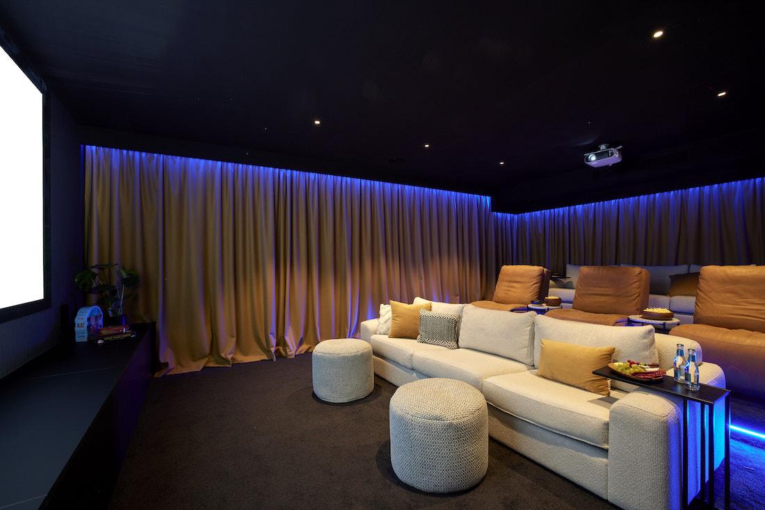 Home cinema with blue LED lights