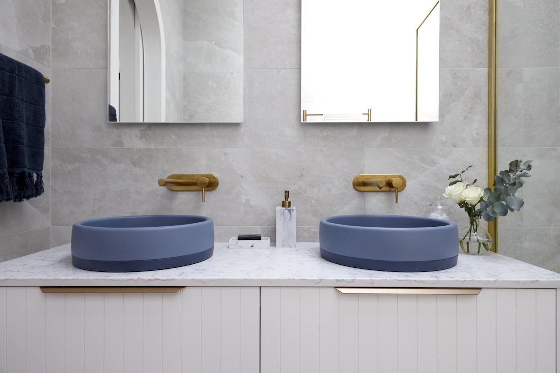 Dual sinks in indigo blue