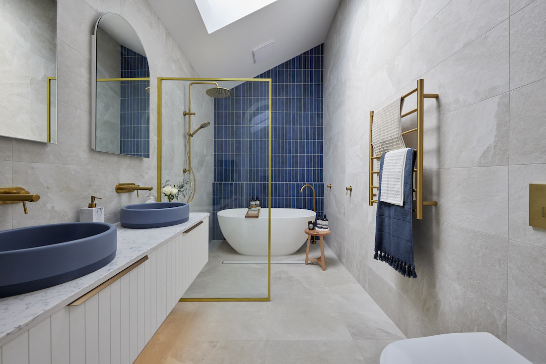 Gold and blue bathroom