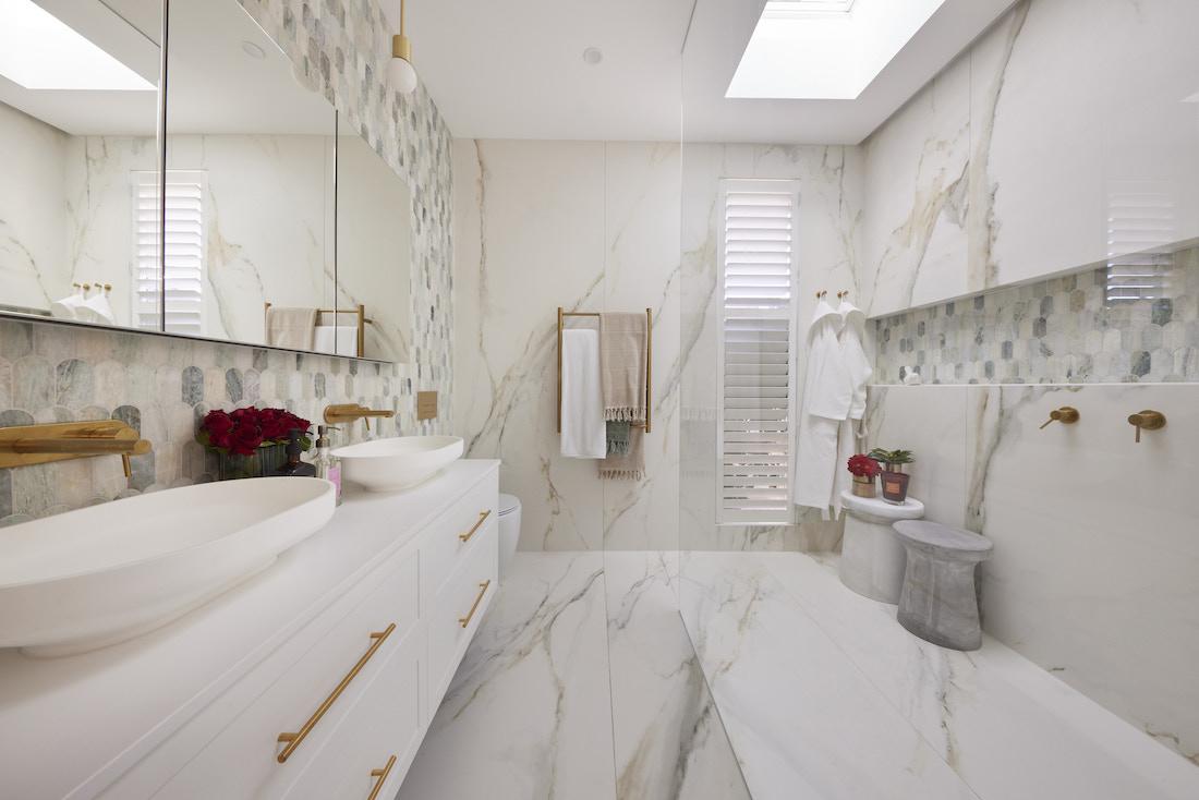 Marble bathroom with skylight