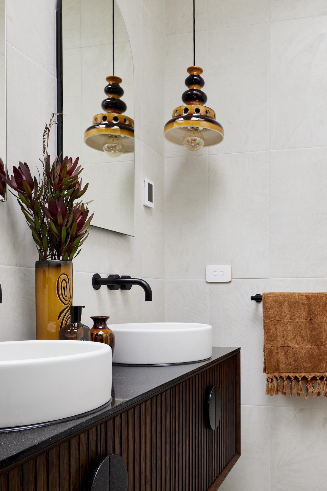 Retro light in modern vintage bathroom