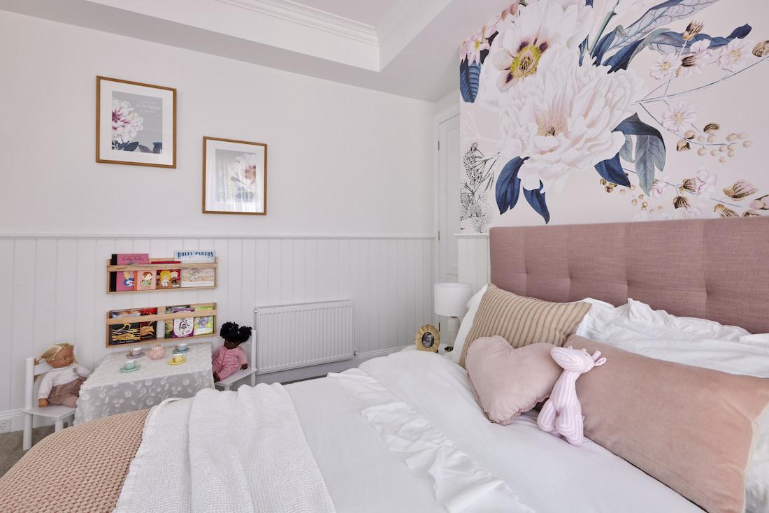 Flower wallpaper on bedroom wall