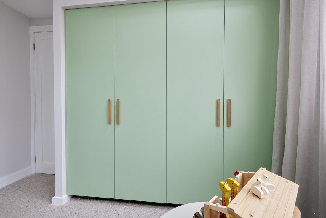 Pistachio green wardrobe doors