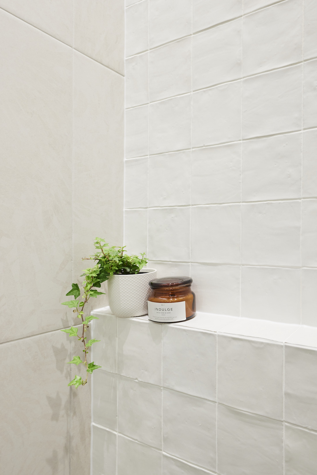 White shelf in shower with trailing plant