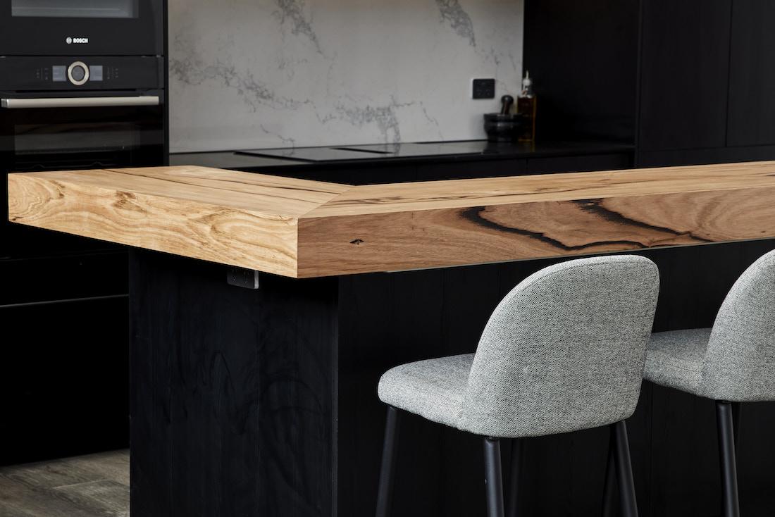 Timber breakfast bench on kitchen island