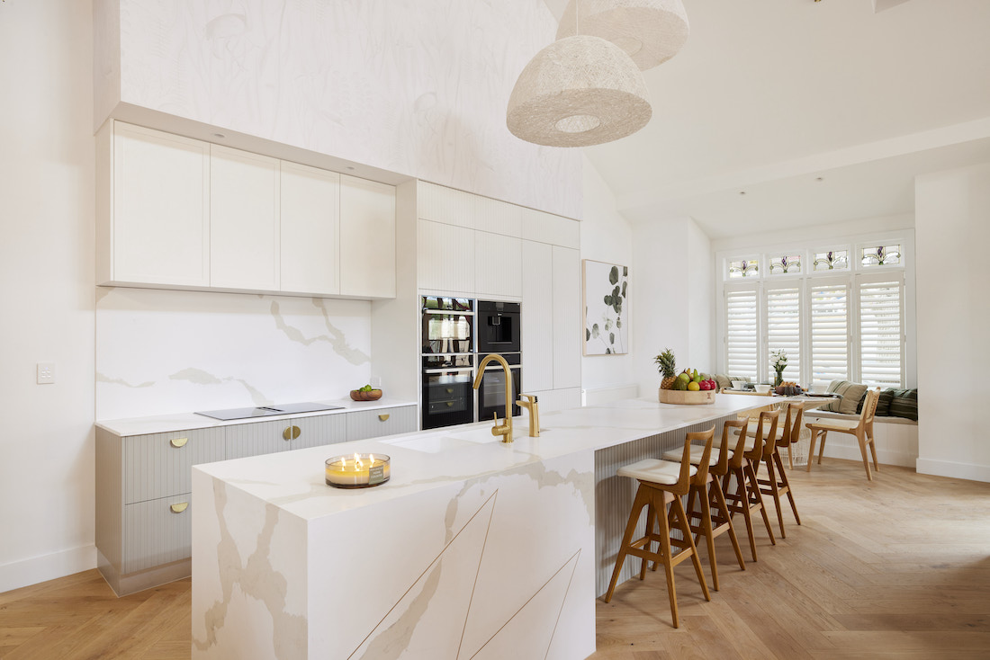 Marble benchtop with gold M
