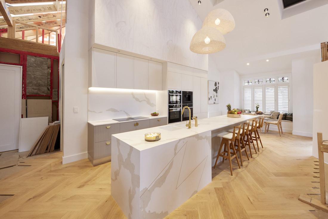 Entry to additional kitchen space in Caesarstone kitchen