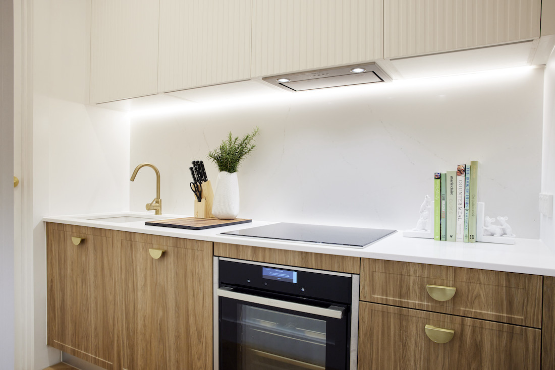 Timber lower cabinetry in additional kitchen space